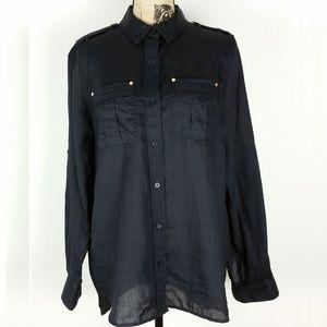 Michael Kors. Black Shirt. Gold Grommets. Size L.